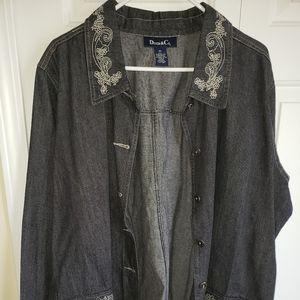 Womens Denim jacket beautiful scroll design 2x